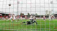 Brentford FC's Jota scores the first goal during the Sky Bet Championship game against Leeds United at Griffin Park