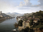 View of the Rhone': Riverscape with bridge connecting buildings on both banks of the water. Alexandrine Hyacinthe Dunouy (1757-1841) French painter. Oil on canvas.