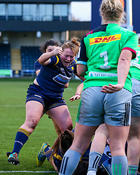 Caryl Thomas of Worcester Warriors Women celebrates, after Sioned Harries forces the ball over the try line  - Mandatory by-line: Nick Browning/JMP - 20/12/2020 - RUGBY - Sixways Stadium - Worcester, England - Worcester Warriors Women v Harlequins Women - Allianz Premier 15s