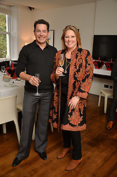 Left to right, LUIS MIGUEL HOWARD and VISCOUNTESS GORMANSTON at a lunch to promote the jewellery created by Luis Miguel Howard held at Morton's, Berkeley Square, London on 20th October 2016.