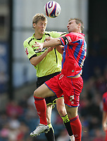 Photo: Lee Earle.<br /> Crystal Palace v Sheffield United. Coca Cola Championship. 22/09/2007. United's Jonathan Stead (L) clashes with Carl Fletcher.