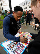 Nathaniel Clyne who on loan from Liverpool, signs his autograph for a fan on arrival at the Vitality Stadium before the The FA Cup 3rd round match between Bournemouth and Brighton and Hove Albion at the Vitality Stadium, Bournemouth, England on 5 January 2019.