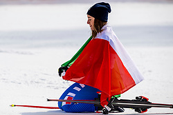 PYEONGCHANG-GUN, SOUTH KOREA - FEBRUARY 21: Gold medalist Sofia Goggia of Italy during the venue victory ceremony following the Ladies Downhill at Jeongseon Alpine Centre on February 21, 2018 in Pyeongchang-gun, South Korea. Photo by Ronald Hoogendoorn / Sportida