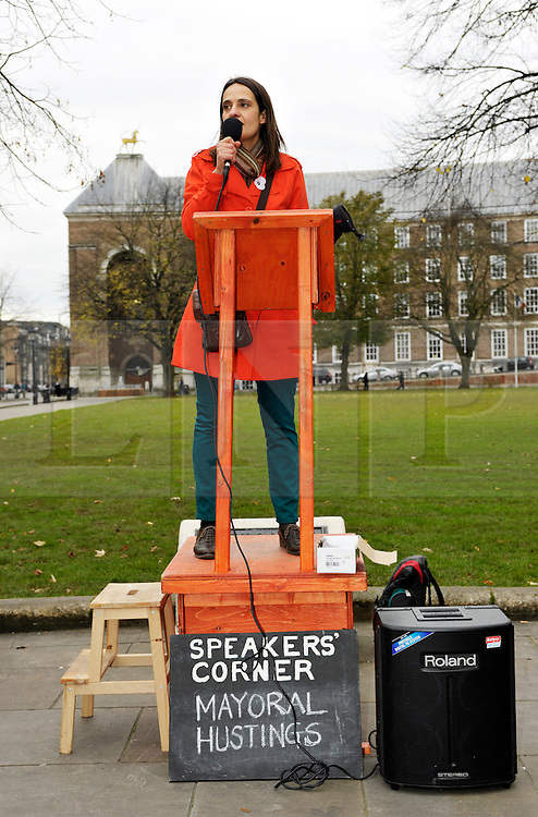 © Licensed to London News Pictures. 09/11/2012. Bristol, UK.  Daniella Radice, Green Party candidate for the election of Mayor of Bristol, at Speakers Corner event on College Green in front of Bristol's Council House.  Bristol was the only city in the UK to vote for a new mayor this year, and the election takes place on 15 November along with the election for Avon & Somerset police and crime commissioner.  09 November 2012..Photo credit : Simon Chapman/LNP