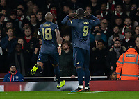 Football - 2018 / 2019 FA Cup - Fourth Round: Arsenal vs. Manchester United <br /> <br /> Romelu Lukaku (Manchester United) teases the Arsenal supporters after providing the assist for his teams second goal at The Emirates Stadium.<br /> <br /> COLORSPORT/DANIEL BEARHAM