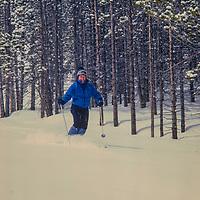 Jeff Blumenfeld skis new powder at Breckenridge, CO.