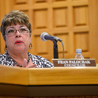 City councilor Fran Palochak speaks out about the package liquor proposal during the city council meeting at Gallup City Hall Tuesday.