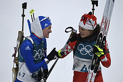 February 10, 2018 - Pyeongchang, South Korea - CLARE EGAN of the USA and JULIA RANSOM of Canada congratulate each other at the finish of the Womens Biathlon 7.5km Sprint Saturday, February 10, 2018 at Alpensia Biathlon Centre at the Pyeongchang Winter Olympic Games.  Photo by Mark Reis, ZUMA Press/The Gazette (Credit Image: © Mark Reis via ZUMA Wire)