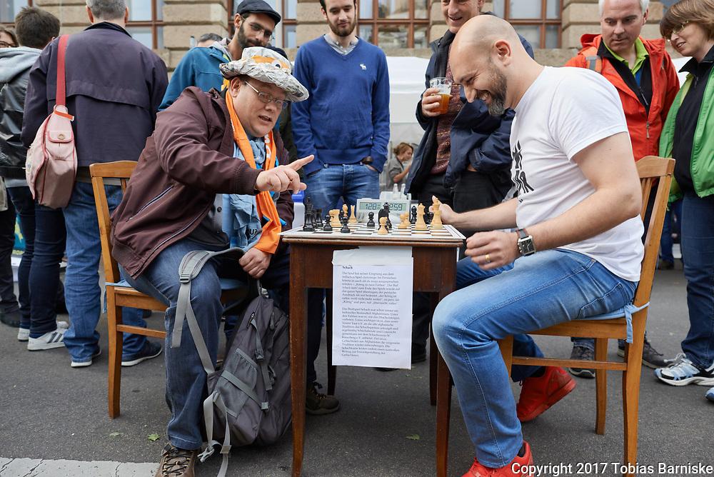 Chess player at the DEKT 2017 - evening of the encounter at Gendarmenmarkt in Berlin.