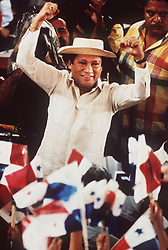 Manuel Noriega acknowledges supporters at a rally outside of Panama City in 1988. One-time Panamanian dictator Manuel Noriega is being remembered as a ruthless strongman of volatile CIA operative and a brash drug trafficker. Noriega was removed from office in the 1989 U.S. invasion of Panama. He died last night at 83. Photo by David Walters/The Miami Herald/TNS/ABACAPRESS.COM