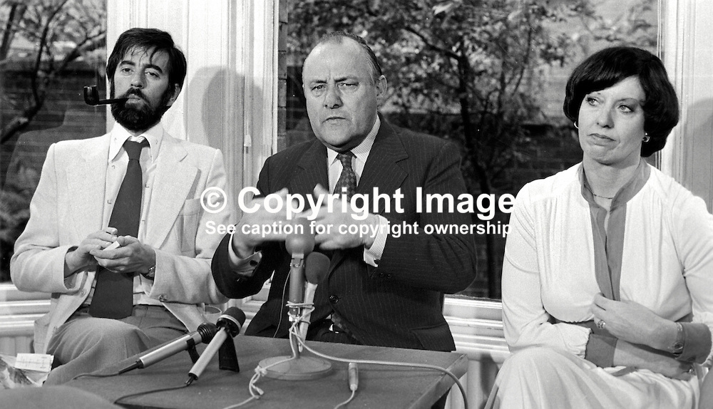 New Zealand Prime Minister Robert Muldoon, centre, who visited the Peace People in Belfast during a two day visit to N Ireland, taking part in a press conference along with Betty Williams, one of the founders of the organisation, and Ciaran McKeown, Peace People press officer. 197706190207c.<br /> <br /> Copyright Image from Victor Patterson, Belfast, UK<br /> <br /> t: +44 28 9066 1296 (from Rep of Ireland 048 9066 1296)<br /> m: +44 7802 353836<br /> e: victorpattersonbelfast@gmail.com<br /> <br /> www.images4media.com<br /> <br /> Please see my full Terms and Conditions of Use at https://www.images4media.com/p/terms-conditions - it is IMPORTANT that you familiarise yourself with them.<br /> <br /> Images used online incur an additional cost. This cost should be agreed in writing in advance. Online images must be visibly watermarked i.e. © Victor Patterson or that of the named photographer within the body of the image. The original metadata must not be deleted from images used online.<br /> <br /> This image is only available for the use of the download recipient i.e. television station, newspaper, magazine, book publisher, etc, and must not be passed on to a third party. It is also downloaded on condition that each and every usage is notified within 7 days to victorpattersonbelfast@gmail.com.<br /> <br /> The right of Victor Patterson (or the named photographer) to be identified as the author is asserted in accordance with The Copyright Designs And Patents Act (1988). All moral rights are asserted.