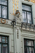 Vienna, Austria, architectural details in a facade of a building in the city centre