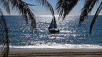 Yacht, sailing boat, Mediteranean, palm trees, palms, coastline, Marbella, Malaga Province, Spain, Espana, February, 2015. 201502050368<br /> <br /> Copyright Image from Victor Patterson, 54 Dorchester Park, Belfast, UK, BT9 6RJ<br /> <br /> t: +44 28 9066 1296<br /> m: +44 7802 353836<br /> vm +44 20 8816 7153<br /> <br /> e1: victorpatterson@me.com<br /> e2: victorpatterson@gmail.com<br /> <br /> www.victorpatterson.com<br /> <br /> IMPORTANT: Please see my Terms and Conditions of Use at www.victorpatterson.com
