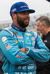 October 5, 2018 - Dover, DE, U.S. - DOVER, DE - OCTOBER 05: Bubba Wallace driver of the #43 World Wide Technology Chevrolet on the grid, waiting out a rain delay for qualifying for the Monster Energy NASCAR Cup Series Gander Outdoors 400 on October 05, 2018, at Dover International Speedway in Dover, DE. Qualifying was canceled after approximately a 40 minute delay. (Photo by David Hahn/Icon Sportswire) (Credit Image: © David Hahn/Icon SMI via ZUMA Press)