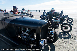Ready for the start of the Sand drags on the beach at the Race of Gentlemen. Wildwood, NJ, USA. October 10, 2015.  Photography ©2015 Michael Lichter.