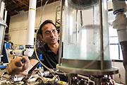 Virag Saksena works on the Still at 10th Street Distillery in San Jose, California, on September 4, 2019. (Stan Olszewski for Content Magazine)