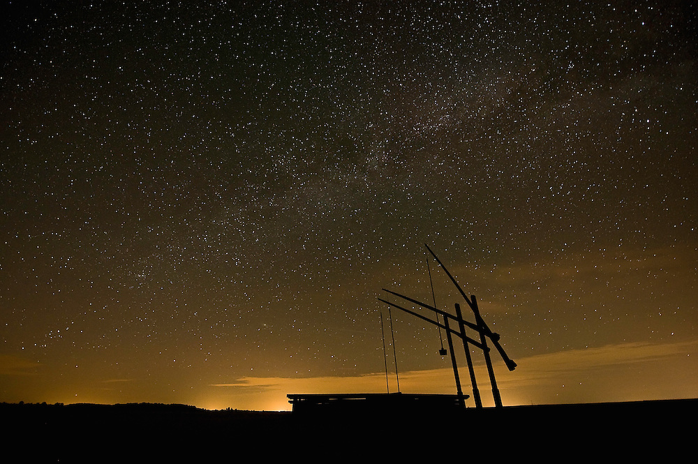 Typical Hortobagy water well on a starry night, Hortobagy National Park, Hungary
