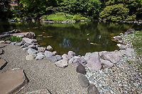 """Denpo-in was once called """"Kannon-in"""" or """"Chiraku-in"""" when it was built, the name was changed to Denpo-in during the Genroku Period.  The strolling pond garden or Chisen Kaiyu Shiki is laid out in a circular style.  The garden has long been for imperial prince abbots and was never ever open to the public until recent years and even now it is only open a few weeks per year in springtime.  The garden was designed by Enshu Kobori a master of tea ceremony, an architect and renowned Japanese garden landscape gardener.  Denpo-in is the private garden of Sensoji Temple's abbot."""