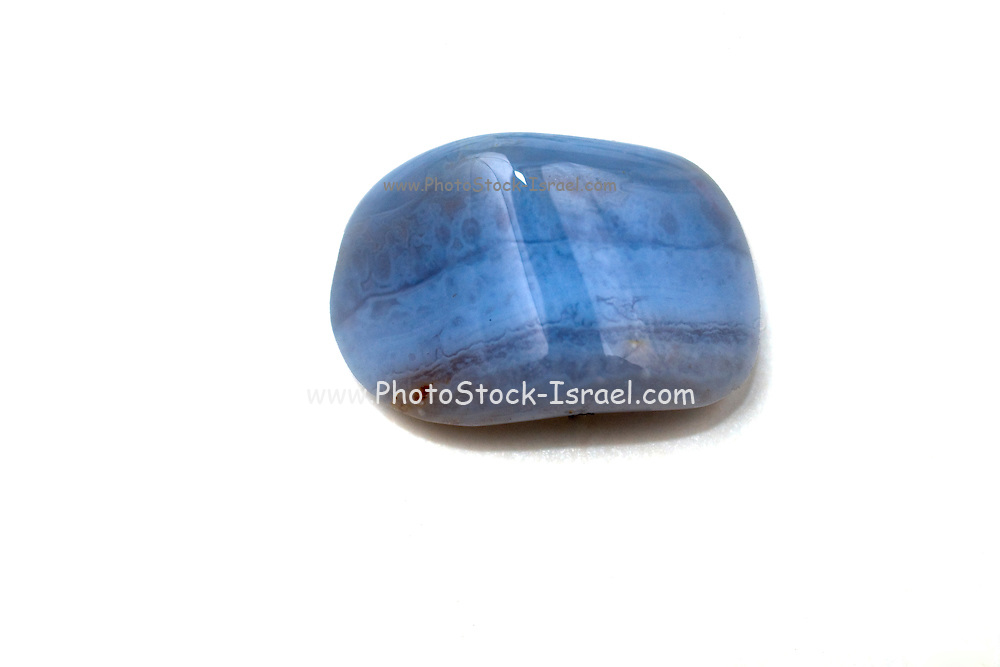 Cutout of a Blue Lace Agate gemstone on white background