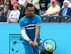 June 21, 2018 - London, United Kingdom - Nick Kyrgios (AUS) in action .during Fever-Tree Championships 2nd Round match between Nick Kyrgios (AUS) against Kyle Edmund  at The Queen's Club, London, on 21 June 2018  (Credit Image: © Kieran Galvin/NurPhoto via ZUMA Press)