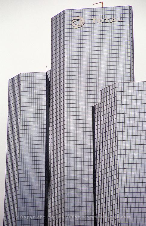 Modern skyskraper office buildings at La Defense complex. Total building. Paris, France.