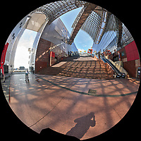 Kyoto Train Station Level Three -- Fisheye View. Composite of 66 images taken with a Leica CL camera and 18 mm f/2.8 lens (ISO 400, 18 mm, f/11, 1/60 sec). Raw images processed with Capture One Pro and AutoPano Giga Pro.