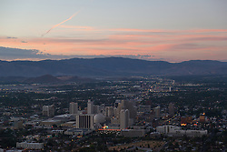 """""""Downtown Reno Sunrise Aerial 1"""" - This aerial photograph of Downtown Reno at sunrise was photographed from a hot air balloon during the 2012 Great Reno Balloon Race Dawn Patrol."""