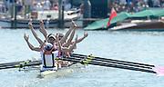 Henley on Thames. United Kingdom. Princess Elizabeth Challenge,Abingdon School, celebrate.  2013 Henley Royal Regatta, Henley Reach. 14:57:39  Sunday  07/07/2013.  [Mandatory Credit Peter Spurrier/ Intersport Images]