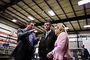 Presidential candidate Sen. Ted Cruz, R-Tx., center, is given a tour of Dane Manufacturing, a small metal fabrication company in a suburb of Madison, Wisconsin on March 24, 2016. Cruz will be campaigning around the state in advance of the Wisconsin Presidential primary to be held on April 5. REUTERS/Ben Brewer