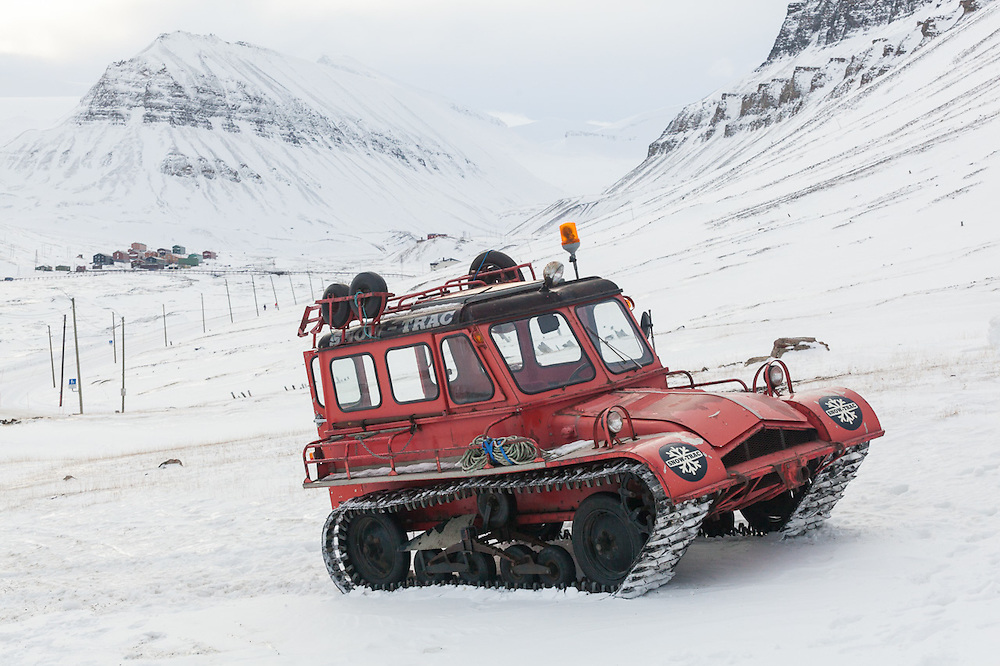 A Snow Trac, a small personal Snowcat, in Longyearbyen, Svalbard.