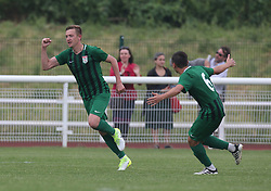 May 31, 2018 - London, United Kingdom - Maskaev of Abkhazia  celebrates his goal.during Conifa Paddy Power World Football Cup 2018  Group B match between  Abkhazia  against Tibet at Queen Elizabeth II Stadium (Enfield Town FC), London, on 31 May 2018  (Credit Image: © Kieran Galvin/NurPhoto via ZUMA Press)