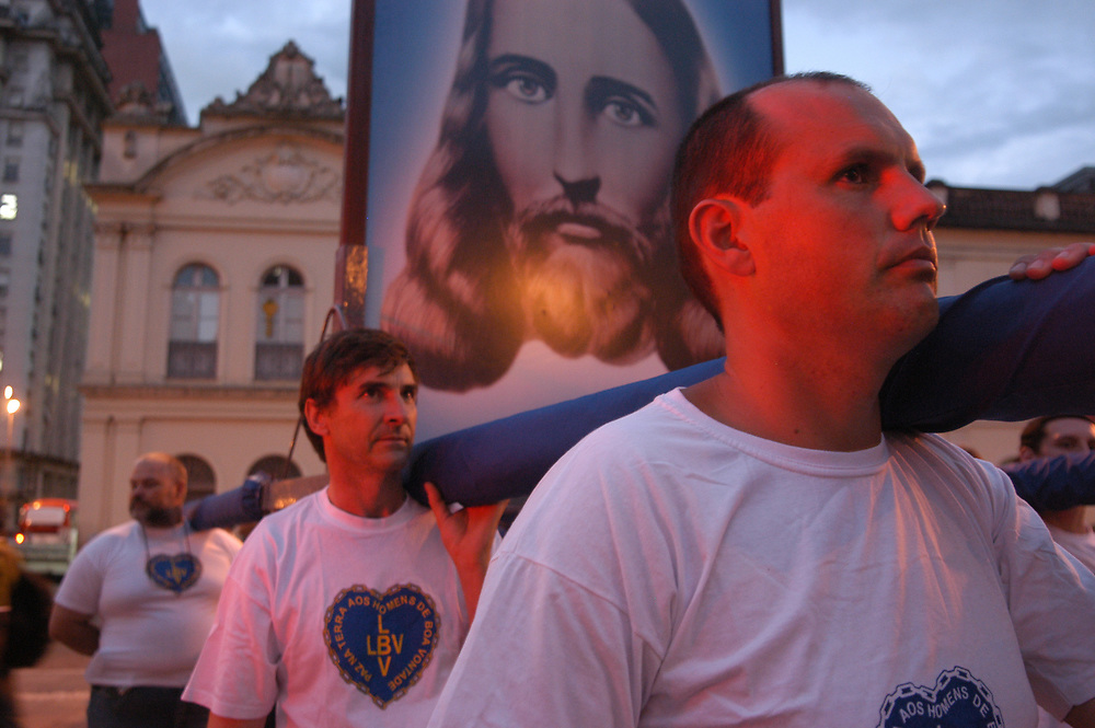 A Catholic procession with the face of Jesus during a peace parade in Porto Alegre