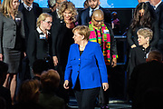 German Chancellor Angela Merkel delivers a speech after receiving the J. William Fulbright Prize for International Understanding in Berlin, Germany, January 28 2019. The Prize recognizes and rewards outstanding contributions toward bringing peoples, cultures, or nations to greater understanding of others.