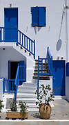 Traditional blue and white house in Mykonos town, Cyclades, Greece