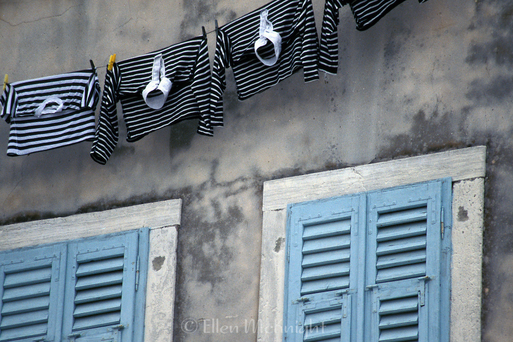 Laundry hanging outside of a home in Rovinj