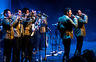 Mexican brass band Banda Estrellas de Sinaloa de German Lizarraga, live at the Barbican with Serbian brass band Boban and Marko Markovic Orchestra ('Brass Band Battle: Mexico vs The Balkans'). La Linea Festival, London, UK (14 April 2013) © Rudolf Abraham