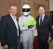 27/01/2014<br /> Frank Byrnes Frank Byrnes Autobody repairs  with THE STIG and Minister Sean Sherlock  at the SCCUL enterprise awards EXPO at the bailey Allen in NUIG<br /> Photo:Andrew Downes