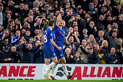 December 8, 2018 - London, Greater London, England - David Luiz of Chelsea celebrates scoring his goal during the Premier League match between Chelsea and Manchester City at Stamford Bridge, London, England on 8 December 2018. (Credit Image: © AFP7 via ZUMA Wire)