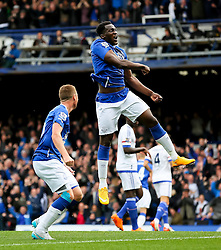 Everton's Romelu Lukaku celebrates after Everton's second goal scored by Steven Naismith - Mandatory byline: Matt McNulty/JMP - 07966386802 - 12/09/2015 - FOOTBALL - Goodison Park -Everton,England - Everton v Chelsea - Barclays Premier League
