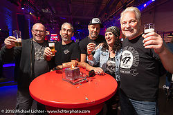 Andreas Scholz with his Custom Chrome Europe team at an Intermot Customized party at the New Yorker's Dock One venue during the Intermot International Motorcycle Fair. Cologne, Germany. Thursday October 4, 2018. Photography ©2018 Michael Lichter.