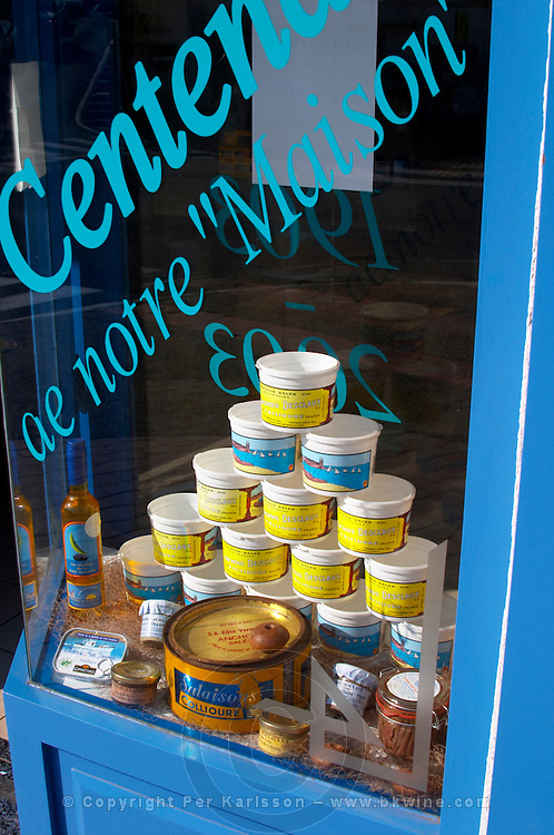 Desclaux Anchois anchovies factory and shop, window display of anchovy tins. Collioure. Roussillon. France. Europe.