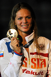 02.08.2013, Barcelona, ESP, FINA, Weltmeisterschaften für Wassersport, Medailliengewinner, im Bild Efimova Yuliya, from Russia, gold medal at 200m Breastrocke Women Finalist Victory Ceremony // during the FINA worldchampionship of waterpolo, medalists in Barcelona, Spain on 2013/08/02. EXPA Pictures © 2013, PhotoCredit: EXPA/ Pixsell/ HaloPix<br /> <br /> ***** ATTENTION - for AUT, SLO, SUI, ITA, FRA only *****