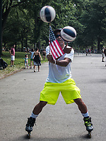 Performing tricks in Central Park.