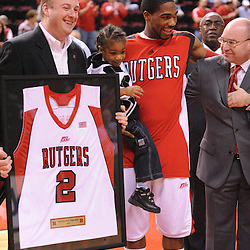 Mar 7, 2009; Piscataway, NJ, USA; Rutgers guard Anthony Farmer during the senior celebration prior to Rutgers' senior day game against South Florida at the Louis Brown Athletic Center.  Rutgers won 45-42.