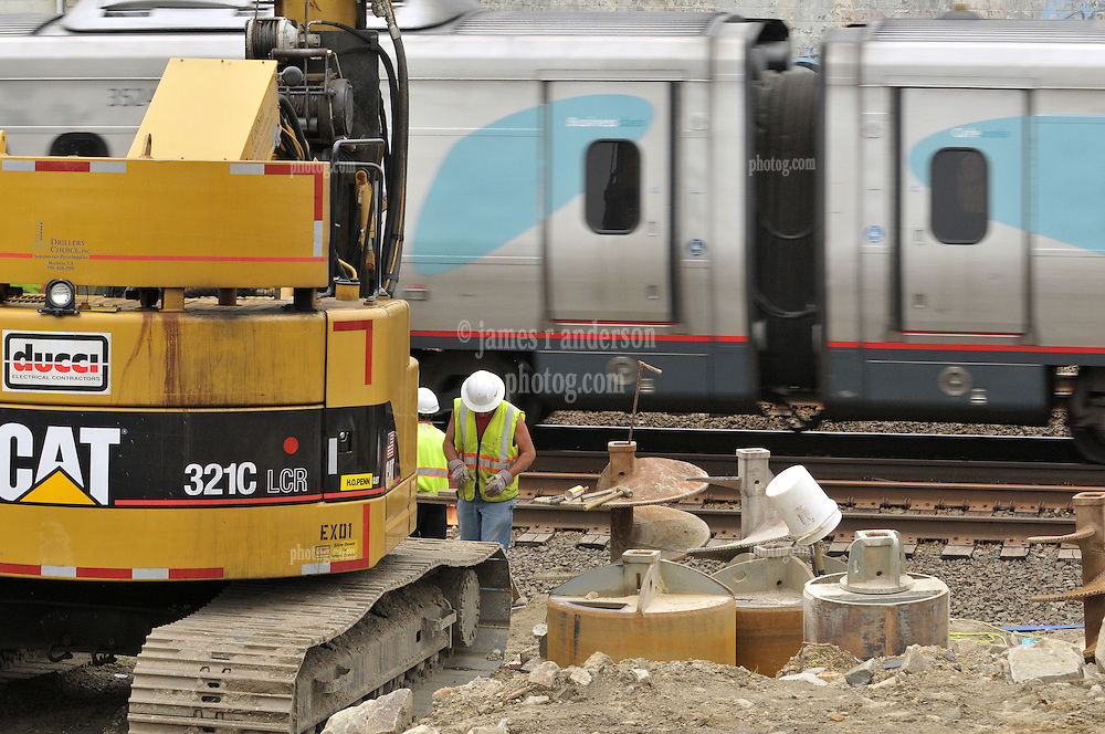 Amtrak Acela movement through the construction of the Commuter Railroad Station at Fairfield Metro Center, CT - Site visit 12 of once per month Chronological Documentation.