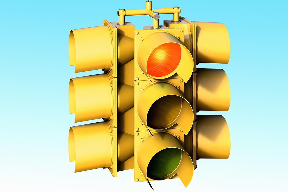 3D rendering of a traffic light on red
