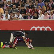 Franck Ribery, FC Bayern Munich, is fouled by Jesus Sanchez, Chivas, during the FC Bayern Munich vs Chivas Guadalajara, Audi Football Summit match at Red Bull Arena, New Jersey, USA. 31st July 2014. Photo Tim Clayton