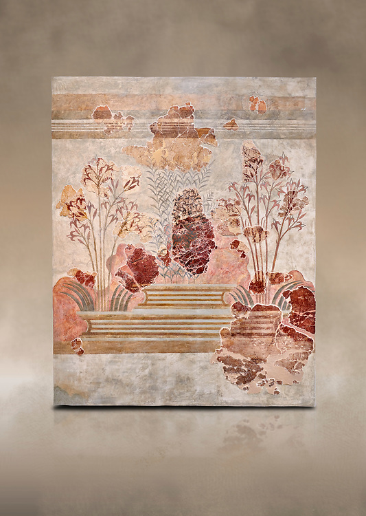 Minoan fresco panel from the 'Lily Frescoes' from the 'Villa of the Lilies' Amnisos, 1600-1500 BC. Heraklion Archaeological Museum.<br /> <br /> Ths freco depicts white lilies against a red background and red lilies against w white backgoround with long stems in front of a fence. The wall art uses fresco and 'in cavo' technique. Neopalatial Period. .<br /> <br /> If you prefer to buy from our ALAMY PHOTO LIBRARY  Collection visit : https://www.alamy.com/portfolio/paul-williams-funkystock/minoan-art-artefacts.html . Type -   Heraklion   - into the LOWER SEARCH WITHIN GALLERY box. Refine search by adding background colour, place, museum etc<br /> <br /> Visit our MINOAN ART PHOTO COLLECTIONS for more photos to download  as wall art prints https://funkystock.photoshelter.com/gallery-collection/Ancient-Minoans-Art-Artefacts-Antiquities-Historic-Places-Pictures-Images-of/C0000ricT2SU_M9w