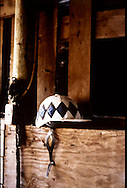 A white jockey's hat sits on a wooden ledge in a barn.