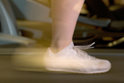 Women's feet running on the treadmill at Southglade Leisure Centre; Nottingham